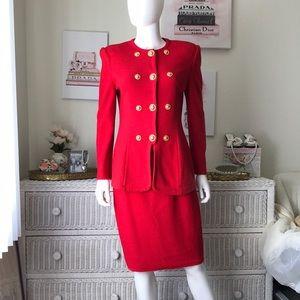 St. John red knit skirt suit 6